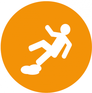 Slips, trips and falls icon